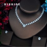 HIBRIDE Brilliant Clear Full Cubic Zirconia Women Bride <b>Jewelry</b> Sets Necklace Set Wedding <b>Accessories</b> Gifts Wholesale N-426