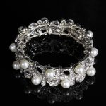 New Fashion <b>Jewelry</b> Plated Silver Pearl Openwork Bracelets Gift Summer Elastic Wrist Band Bride Wedding Party <b>Accessories</b> Bangle