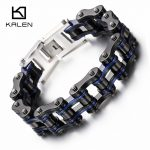Kalen 22cm Black & Blue Bracelet Stainless Steel Chunky Bicycle Chain Bracelet Male Fashion <b>Jewelry</b> <b>Accessories</b> For Best Friends