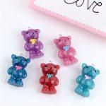 DIY handmade <b>jewelry</b> <b>accessories</b> materials Korea resin pearl glitter bear earrings phone bag pendant Ornaments Necklace Charms