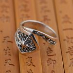 Silver ring S925 Sterling Silver <b>antique</b> crafts high-end <b>jewelry</b> brand cross hollow opening atmosphere