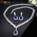 Pera CZ Luxury Bridesmaid <b>Accessories</b> Cubic Zirconia Stone Big Bridal Wedding Pera Cut Dropping <b>Jewelry</b> Sets For Women J048