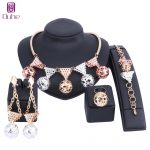 Fashion Dubai <b>Jewelry</b> Sets Bridal Gift Nigerian Wedding <b>Accessories</b> Big African Gold Color Necklace Earring Ring <b>Jewelry</b> Set
