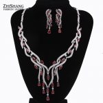 Luxury Famous Brand Brillant Red Crystal Zircon Drop Earrings And Necklace Dinner Party <b>Jewelry</b> Set Wedding <b>Accessories</b> WS035