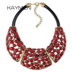 KAYMEN Factory Price Wholesale Bohemian <b>Antique</b> Plated Inlaid Resin Stones big Choker Statement Necklace for Women Party Wedding