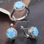 New Fashion Women <b>Jewelry</b> Set Blue Fire Opal Zircon Ring Earrings Set For Women Wedding <b>Accessories</b>