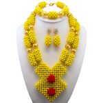 Yellow Coral African Wedding <b>Jewelry</b> Set Gold <b>Accessories</b> African Beads Bridal Wedding <b>Jewelry</b> Necklace Set