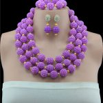 Wedding Dress <b>Accessories</b> Fine Necklace Set For Women African Beads Purple <b>Jewelry</b> Sets Pendant Party Earrings Bracelets