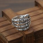 DL 100% 925 Solid Silver Punk Skull Mens Ring With A CZ <b>Antique</b> 925 Sterling Silver Mens <b>Jewelry</b> Cool Rock Star J108
