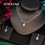 HIBRIDE Simple Design Micro CZ Pave Dubai <b>Jewelry</b> Sets For Women Luxury Necklace Set Wedding Dress <b>Accessories</b> Party Show N-461
