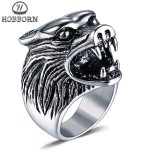 HOBBORN Vintage Men Wolf Head Ring Titanium Steel High Polished Wide <b>Antique</b> Old Animal Totem Men Rings Hiphop Finger <b>Jewelry</b>