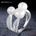 ANFASNI Real 925 Sterling Silver Trendy Ring for Women Fine <b>Jewelry</b> Rins With 3 Pearls Adjustable Size Party <b>Accessories</b> CGSRI08