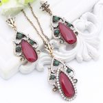 Vintage Turkish Women Crystal <b>Jewelry</b> Water Drop Long Red Earring Hollow Resin <b>Antique</b> Gold Color Indian Bridal Bijoux For Lover