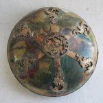 Ancient Chinese ceramics copper decoration cosmetics box <b>jewelry</b> box/