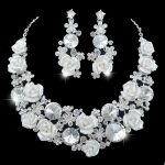 Bridal necklace earrings set Austrian crystal Porcelain material wedding Evening silver <b>jewelry</b> sets for Party dress <b>accessories</b>