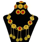 2018 New Charm Bride Wedding Party <b>Jewelry</b> <b>Accessories</b> Pendant Beads Necklace Red Crystal African Bride Gold <b>Jewelry</b> Sets