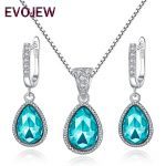 Authentic 925 Sterling Silver Sky Blue Crystal Drop Dangle Earrings Pendant Necklace for Women Fashion <b>Jewelry</b> Set <b>Accessories</b>