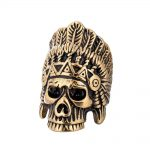 Punk Rock Hip Hop Titanium Steel Men Ring Indian Chief Skull <b>Antique</b> Gold Silver Wedding Biker Band Vintage <b>Jewelry</b> QMHJE DAR295