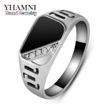 YHAMNI Luxury Gold Color Rings For Men Inlay <b>Antique</b> Natural Black Stone CZ Engagement Wedding Ring Men <b>Jewelry</b> Gift HR379