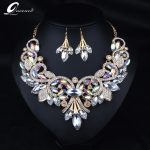 2018 Indian Rhinestone Bridal <b>Jewelry</b> Set Wedding Prom Party <b>Accessories</b> Gold Color Necklace Black Earring Set for Brides Women