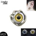 Fashion personality 925 silver stud earring,Imitation eyes pattern,2colors,girls/boys silver <b>jewelry</b> small ears <b>accessories</b>