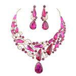 New Luxury Rose earrings set Bridal Wedding <b>Jewelry</b> sets Fuchsia Waterdrop Women party <b>Accessories</b> <b>Jewelry</b> Necklace with Earring
