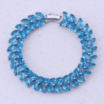 Sublime Say Blue Crystal <b>Jewelry</b> Silver Color Fashion Charm Bracelets Women Wedding <b>Accessories</b> Free Shipping D0054
