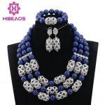 Latest Navy Blue Beads African <b>Jewelry</b> Sets Silver <b>Jewelry</b> <b>Accessories</b> Stone Chunky <b>Jewelry</b> Set Party Free Shipping HIBEADS001