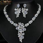 CWWZircons Gorgeous Dancing Flower Shape Cubic Zircon Wedding Party <b>Accessories</b> CZ Big Bridal Necklace Earring Set T244