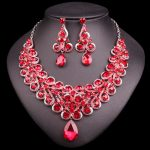 Fashion Indian Necklace Earring Set Bridal <b>Jewelry</b> Sets Red Rhinestones Party Wedding Costume <b>Accessories</b> Decoration Bride Women