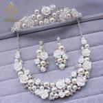 TREAZY Ceramic Flower Bridal Wedding <b>Jewelry</b> Set Fashion Pearl Crystal Necklace Earrings Crown Tiara Women Wedding <b>Accessories</b>