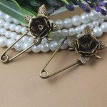40pcs/Lot 20mm 3D Flower Brooches <b>Antique</b> Bronze vintage cabochon pin base blank settings diy handmade <b>jewelry</b>