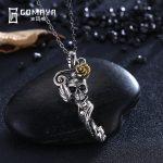 GOMAYA Vintage Retro Genuine 925 Sterling Silver Skeleton Pendant Necklace <b>Antique</b> Fine <b>Jewelry</b> Gift for Women Charm Punk
