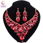 2018 Fashion Indian Rhinestone Bridal <b>Jewelry</b> Set Wedding Prom Party <b>Accessories</b> Gold Color Necklace Earring Set For Brides