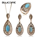 Blucome Fashion Blue Opal Water Drop Shape Vintage Necklace Earring Ring <b>Jewelry</b> Set For Women Banquet Party Present <b>Accessories</b>