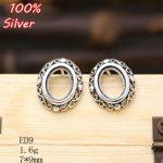 100% 925 Sterling-Silver-<b>Jewelry</b> Ellipse Blank Stud Earrings for women with Fit 7*9mm <b>Antique</b> Silver Base Tray for diy Earrings