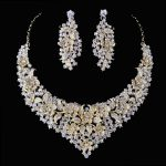 Crystal women wedding <b>jewelry</b> sets golden plated flower deisgn Bridal party necklace earrings set AB crystal <b>jewelry</b> <b>accessories</b>