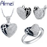 Almei <b>Jewelry</b> Sets Lady Silver Zircon Fashion Black Enamel Clear Love Heart Pave Crystal For Women Wedding <b>Accessories</b> T172