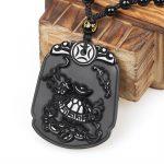 Natural Black Obsidian Stone Pendant Animals dragon Turtle Pendant Necklace For Men's & Women <b>Jewelry</b> Chain <b>Accessories</b>
