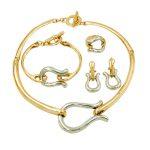 2018 Italian Fashion Silver Design Gold <b>Jewelry</b> Sets Necklace Bracelet Rings Women Birthday Gift Wedding <b>Accessories</b>