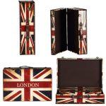 zakka <b>antique</b> Vintage big wooden box storage box <b>Jewelry</b> Box European Union England London USA America flag style Case ZA2946