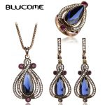 Blucome Red Turkish <b>Jewelry</b> Sets For Women Big Size Rings Water Drop Resin Pendant Necklace Earrings Ring Set Party <b>Accessories</b>