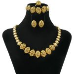 Liffly Wholesale and Retail Dubai Women's Crystal Short Oval Necklace <b>Jewelry</b> Set African Fashion Bride Gold <b>Jewelry</b> <b>Accessories</b>