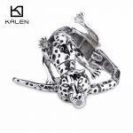 Kalen Gothic Stainless Steel Animal Leopard Bracelet & Bangle For Men 22cm Big Wrist Handchain Bracelet Punk <b>Accessories</b> <b>Jewelry</b>