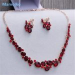 Mamojko Red Rhinestone Wedding Boho <b>Jewelry</b> Set Choker Necklace Earrings Fashion Good Quality Woman Nice <b>Accessories</b> Wholesale