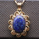 JINYAO Fashion <b>Antique</b> Natural Lapis Lazuli& AAA Cubic Zirconia Champagne Gold Color Necklace Pendant For Women Party <b>Jewelry</b>