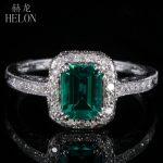HELON 7X5mm 0.81ct Emerald Pave 0.2ct Diamonds Fine Ring Real 10K White Gold Engagement Wedding <b>Art</b> <b>Deco</b> Women <b>Jewelry</b> Ring