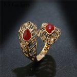 <b>Antique</b> Titanium Gold Ring Fashion Crystal Rhinestone Leaf Red/Green Waterdrop Natural Stone Rings For Women Brand <b>Jewelry</b>