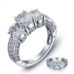 Vintage Style <b>Art</b> <b>Deco</b> 2 Carat Created Solid 925 Sterling Silver Wedding Engagement Ring <b>Jewelry</b>