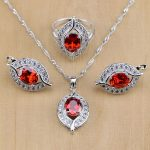 Mystic Red Cubic Zirconia White CZ 925 Sterling Silver <b>Jewelry</b> Sets For Women Wedding <b>Accessories</b> Earrings/Pendant/Necklace/Ring